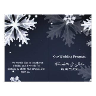 Flyer programa do casamento no inverno dos flocos de