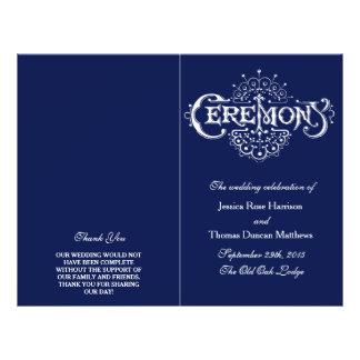 Flyer Programa elegante da cerimónia de casamento dos