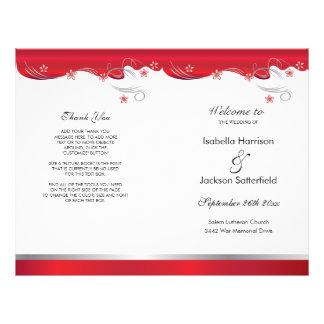 Flyer Programa floral vermelho moderno do casamento