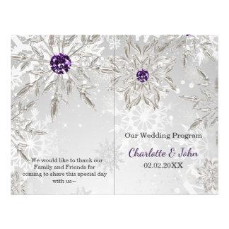 Flyer programa roxo de prata do casamento no inverno dos