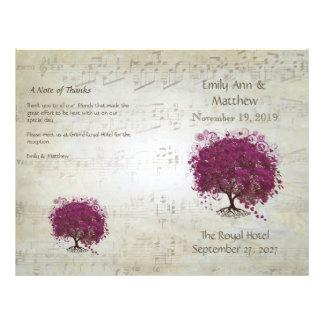 Flyer Programas do casamento da árvore da folha do