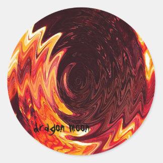 fogo da lua do dragão adesivo