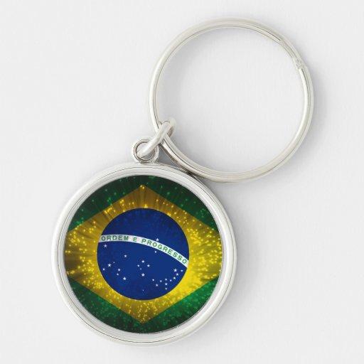 Fogo-de-artifício da bandeira de Brasil Chaveiro