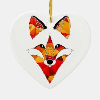 Fogo de Fox Ornamento De Cerâmica Coração