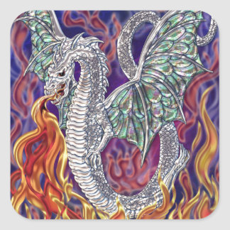 Fogo do dragão adesivo quadrado