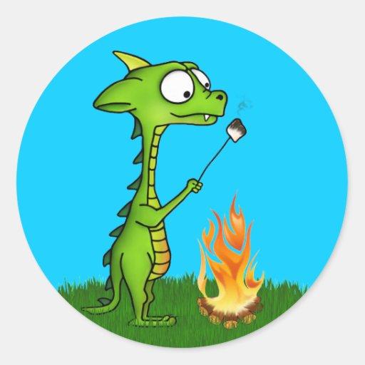 Fogo do dragão adesivos em formato redondos