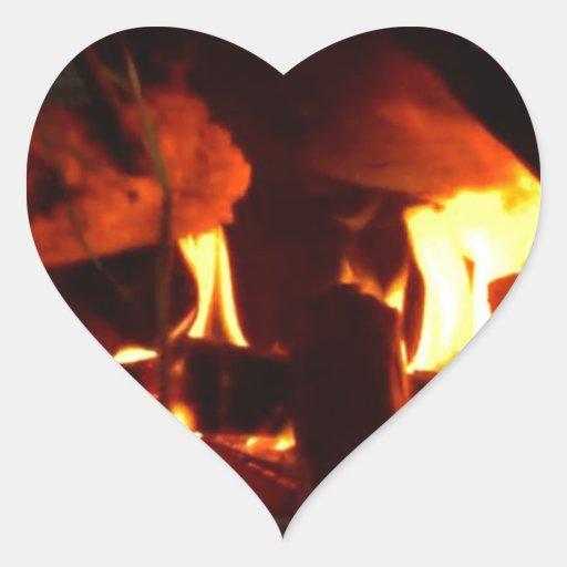 FOGO: Lareira da lareira Adesivo De Coração