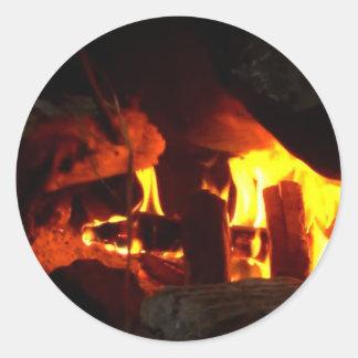 FOGO: Lareira da lareira Adesivo Em Formato Redondo