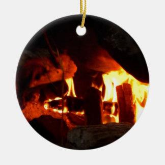 FOGO: Lareira da lareira Ornamento De Cerâmica Redondo