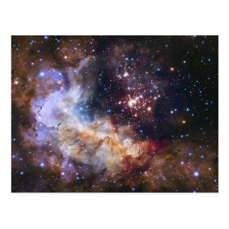 Fogos-de-artifício celestiais no cartão do espaço
