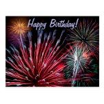 Fogos-de-artifício, feliz aniversario! cartões postais