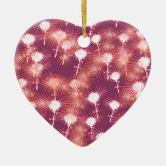 Fogos-de-artifício vermelhos ornamento de cerâmica coração