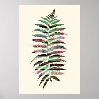 Folha botânica abstrata bonito do pavão poster