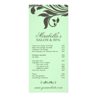 Folha Brown verde floral dos termas do cartão da 10.16 X 22.86cm Panfleto