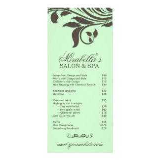 Folha Brown verde floral dos termas do cartão da c 10.16 X 22.86cm Panfleto