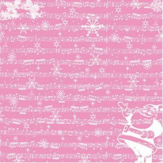 Folha cor-de-rosa do Musical do Natal do vintage Escultura De Foto