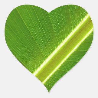 Folha de bananeira adesivo de coração