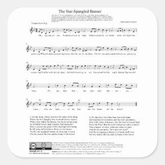 Folha de música do hino nacional de bandeira star adesivos