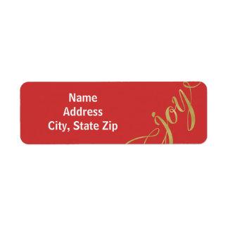 Folha de ouro do falso da alegria & etiquetas de etiqueta endereço de retorno