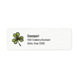 Folha verde do trevo etiqueta endereço de retorno