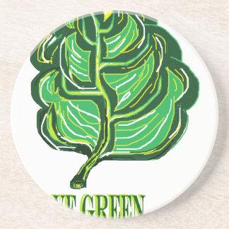 Folha verde porta copos de arenito