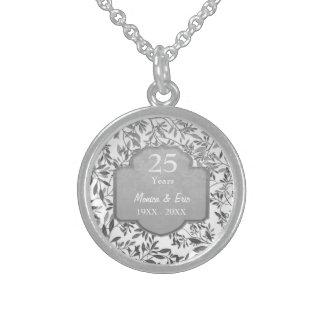 Folhas aniversário de casamento da prata do 25o colar de prata esterlina