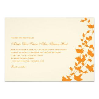 Folhas bonitas que Wedding o convite - laranja