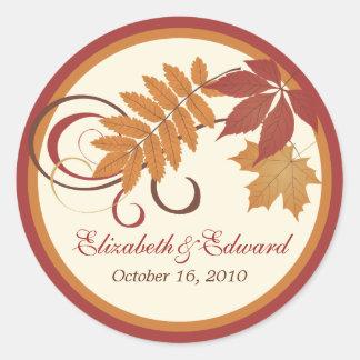 Folhas da queda do outono da etiqueta | do favor d adesivo redondo