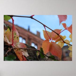 Folhas da queda no castelo pôsteres