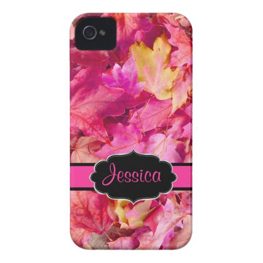 Folhas de bordo do rosa quente de PixDezines/queda Capa iPhone 4 Case-Mate