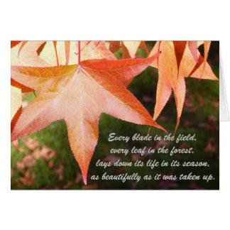 Folhas de outono da simpatia cartão comemorativo
