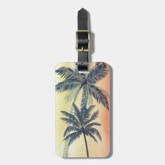 Folhas de palmeira tropicais etiqueta de bagagem