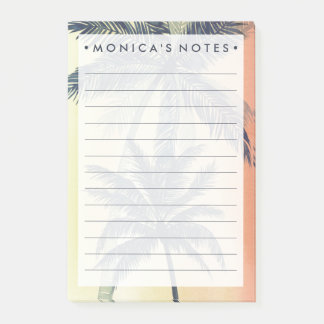 Folhas de palmeira tropicais post-it note