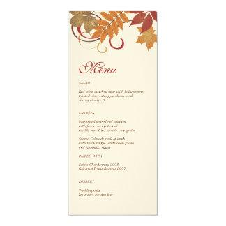 """Folhas de queda do outono do cartão   do menu do convite 10.16"""" x 23.49cm"""