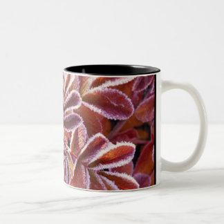 Folhas do inverno caneca de café em dois tons