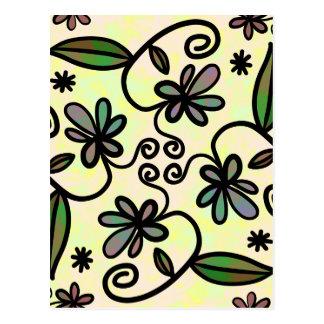Folhas dos redemoinhos da flor cartão postal