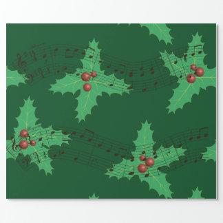 Folhas e melodia do azevinho papel de presente