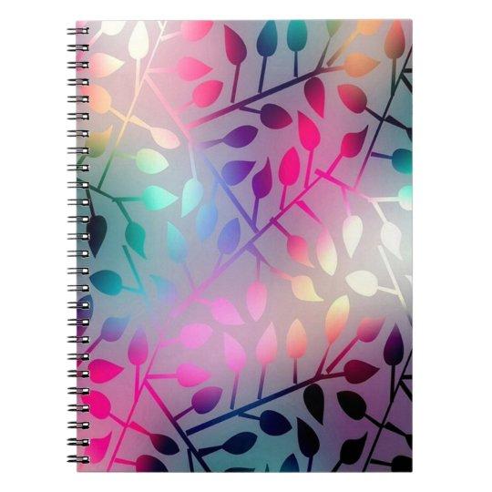 Folhas iridescentes cadernos espirais