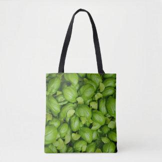 Folhas verdes da manjericão bolsas tote