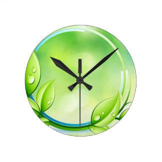 Folhas verdes do jardim relógios para paredes