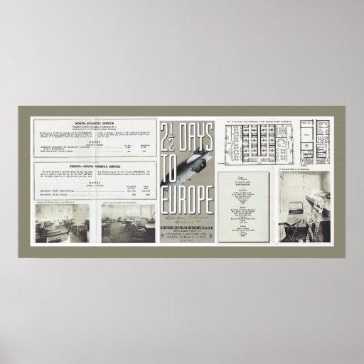 Folhetos das viagens vintage de Hindenburg Impressão