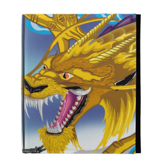 Fólio dourado do iPad do dragão