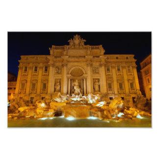 Fontana di Trevi na noite, Roma Impressão De Foto