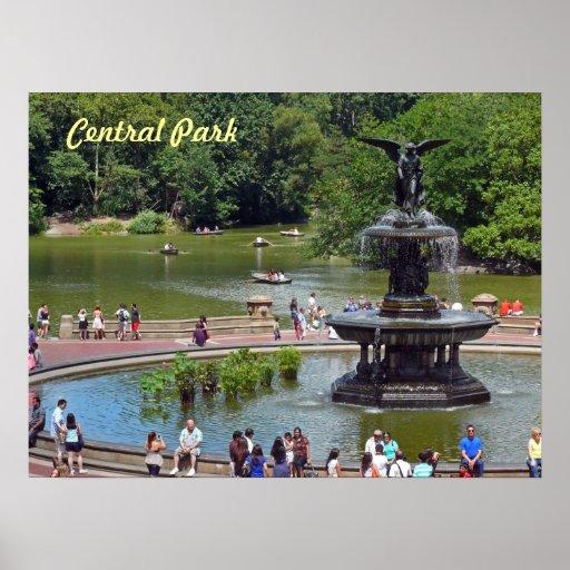 Fonte e lago no Central Park, Nova Iorque Poster