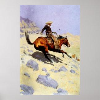 Forças armadas da cavalaria do vintage, vaqueiro poster