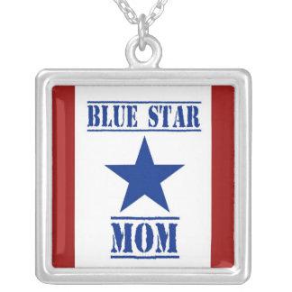 Forças armadas da mamã da estrela azul colar com pendente quadrado