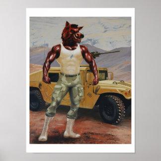 Forças armadas do Razorback do porco do soldado de Pôster