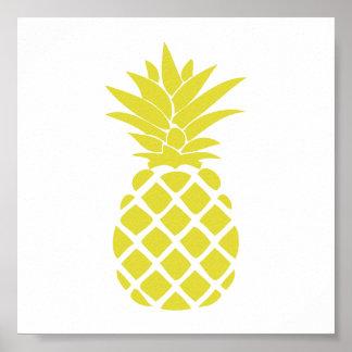 Forma decorativa amarela do abacaxi poster