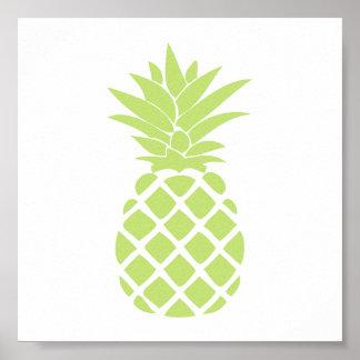 Forma decorativa do abacaxi do verde limão poster