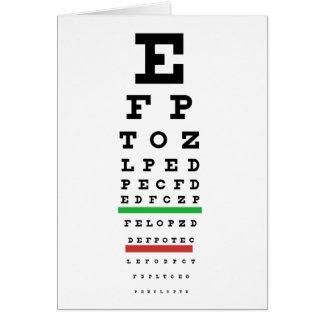 Forma do verificador da vista do olho cartão